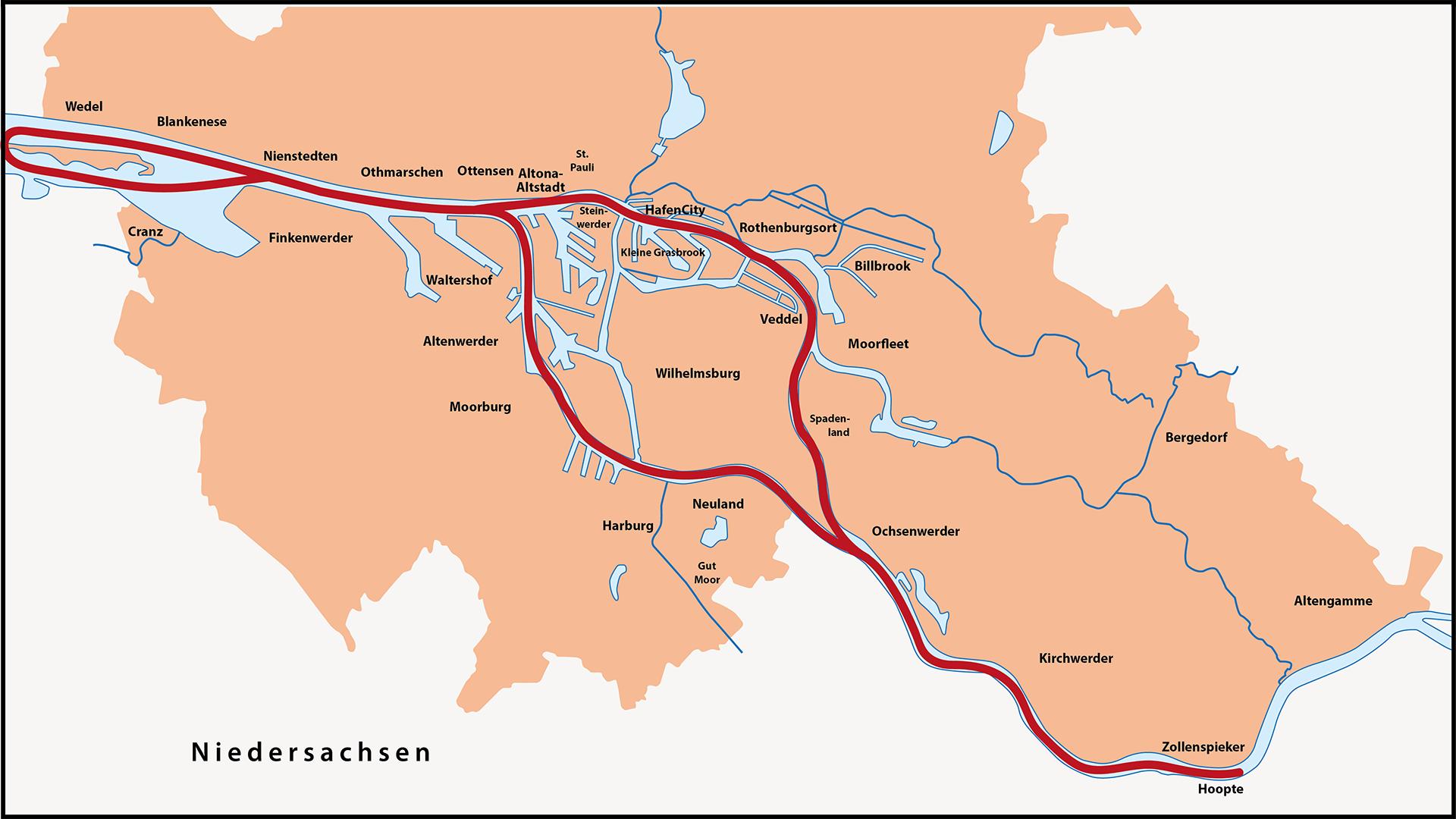 Karte Zwei Elbinselrundfahrt