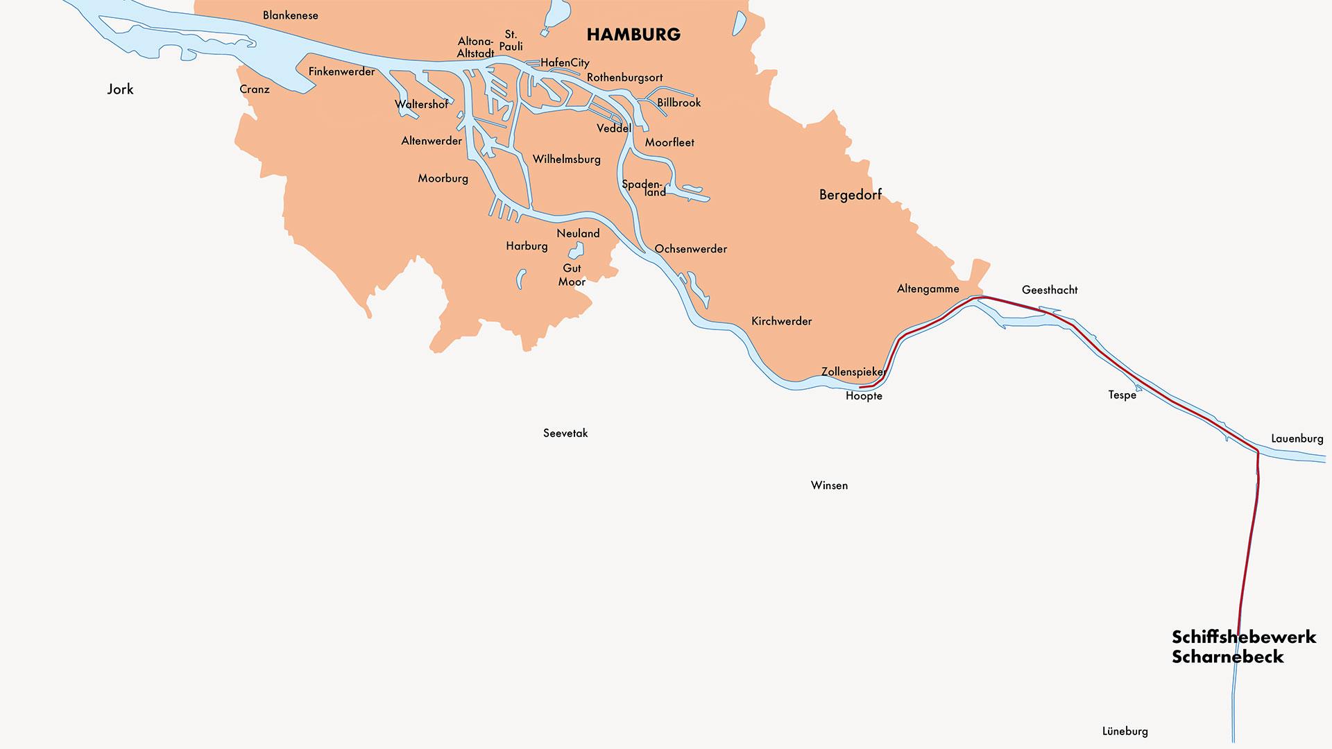Karte Schiffshebewerk